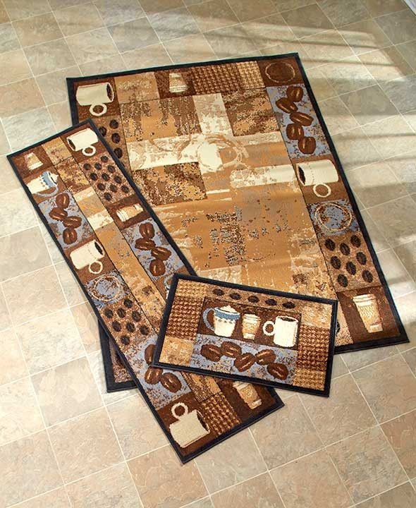 Coffee themed kitchen rugs accent runner area stain for Kitchen area rugs runners