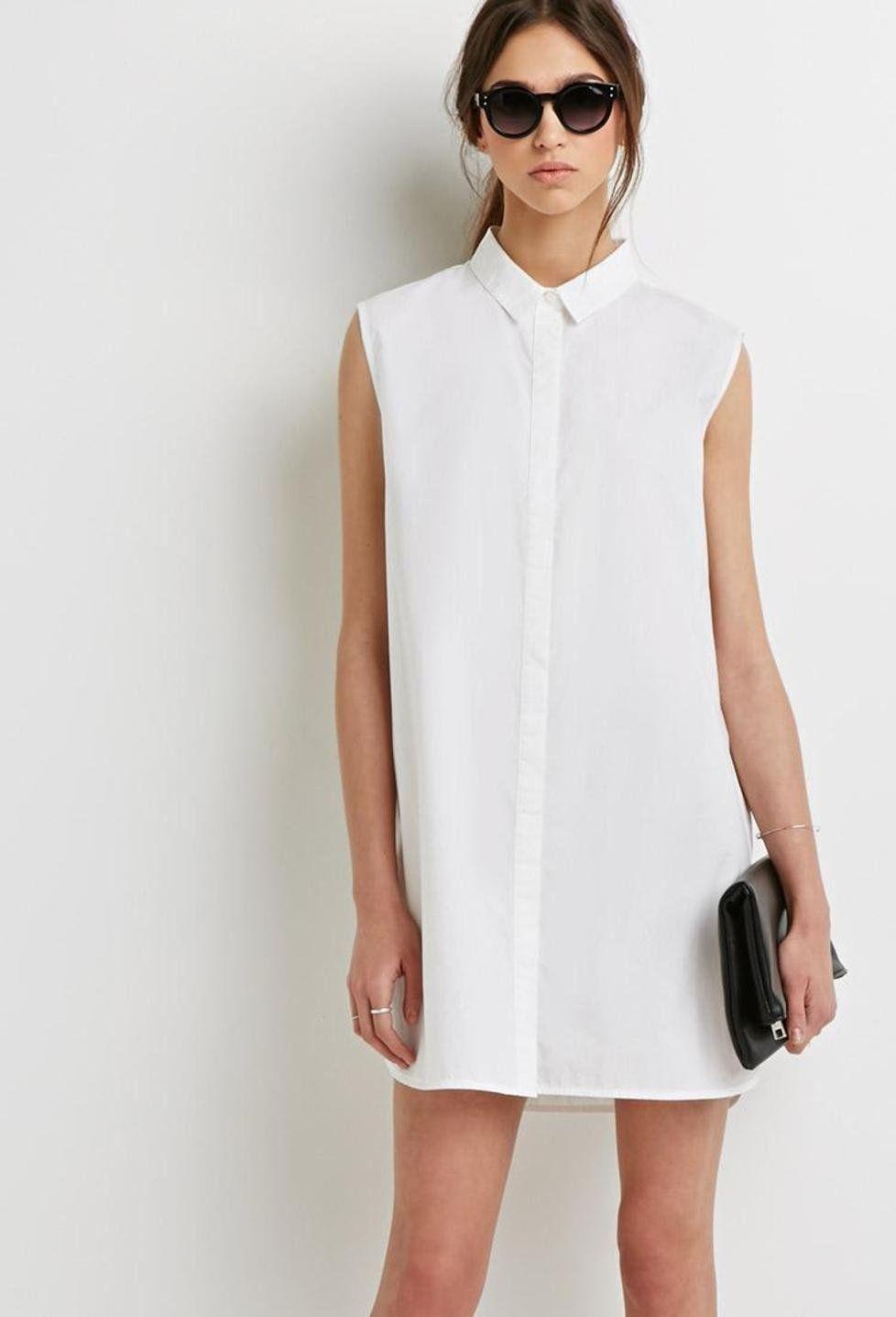 16fb0e3f2ec6e Tendencia  Vestido camisero blanco Un look muy cómodo y fresco para la  temporada de calor