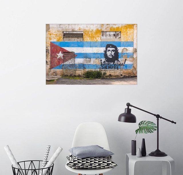 Posterlounge Wandbild - Alan Copson »Che Guevara und kubanisches Flaggenwandbild« online kaufen | OTTO