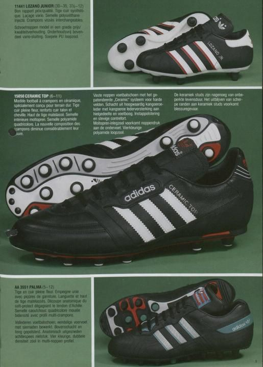 Soccer shoes · Adidas 1987 Catalogue Page