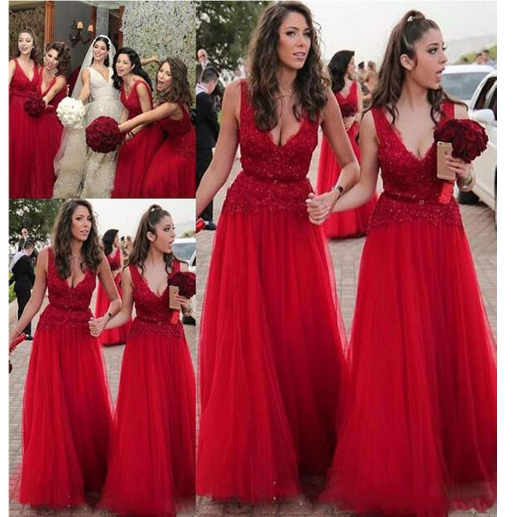 Long red vneck aline country modest plush size wedding party