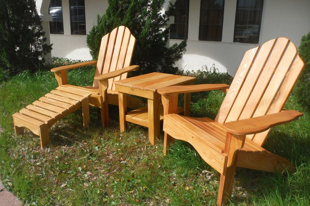 Wood adirondack chair patio set made from cypress and