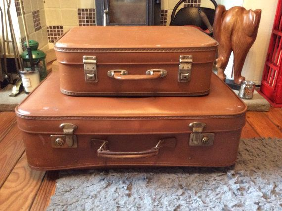 Vintage Trunk Suitcases Set Of Two Tan Luggage Display Case Trunks Shabby Chic Decor Wedding Steam Punk