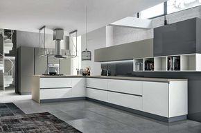 cuisine en l | Cuisine moderne blanche et grise - sans poignées ...