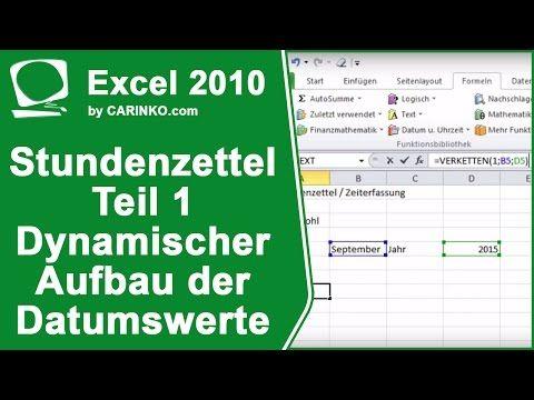 Stundenzettel Zeiterfassung In Excel Erstellen Teil 1 Carinko Com Youtube Zeiterfassung Excel Vorlage Stundenzettel Excel
