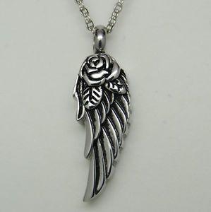 METAL URN KEEPSAKE ASH HOLDER ANGEL WING HEART CHARM BLACK CORD PENDANT