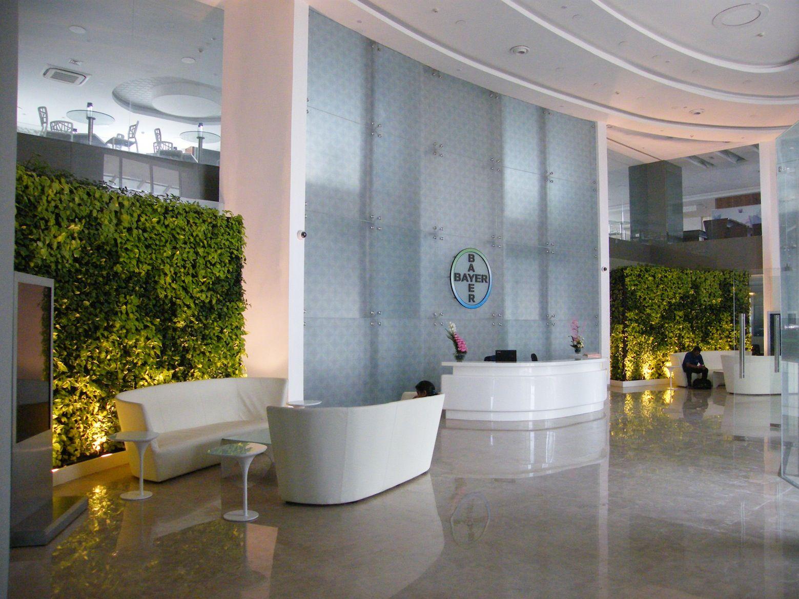 ELT Green wall at BAYER office in Mumbai, India | Vertical Gardens ...