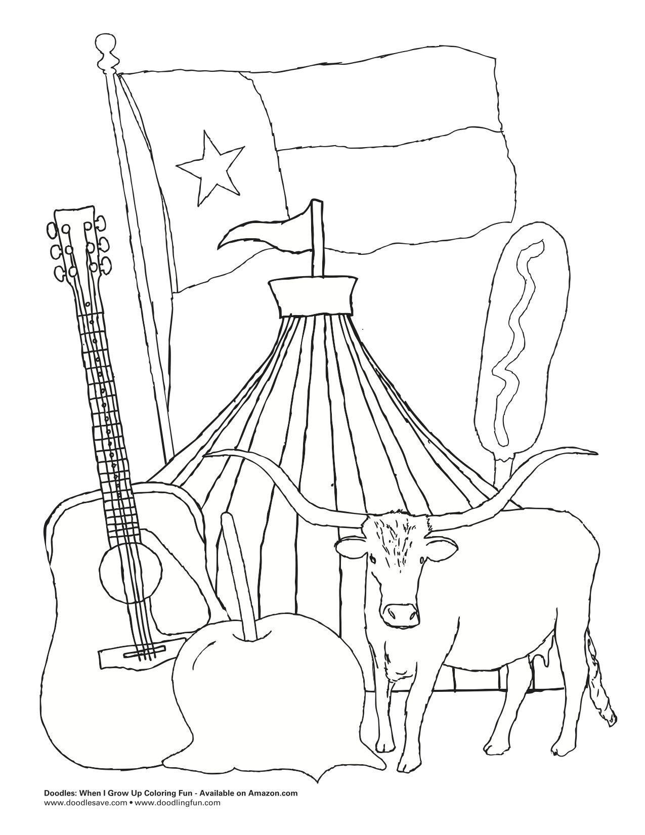 Unique State Of Texas Coloring Page