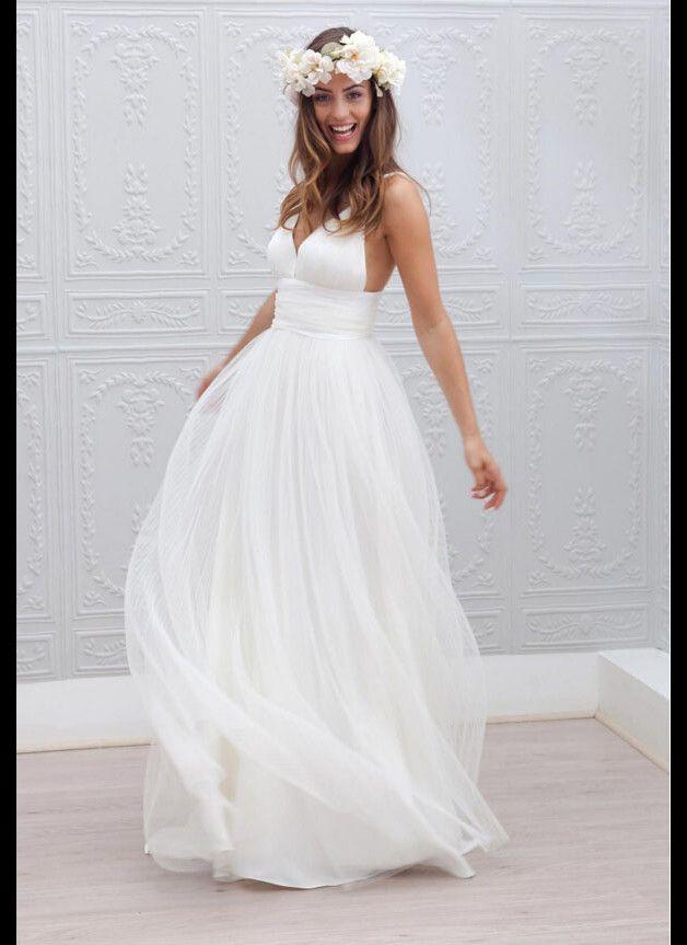 Tüll Rückenfrei Spaghettiträger Strand Brautkleid | Wedding dress ...