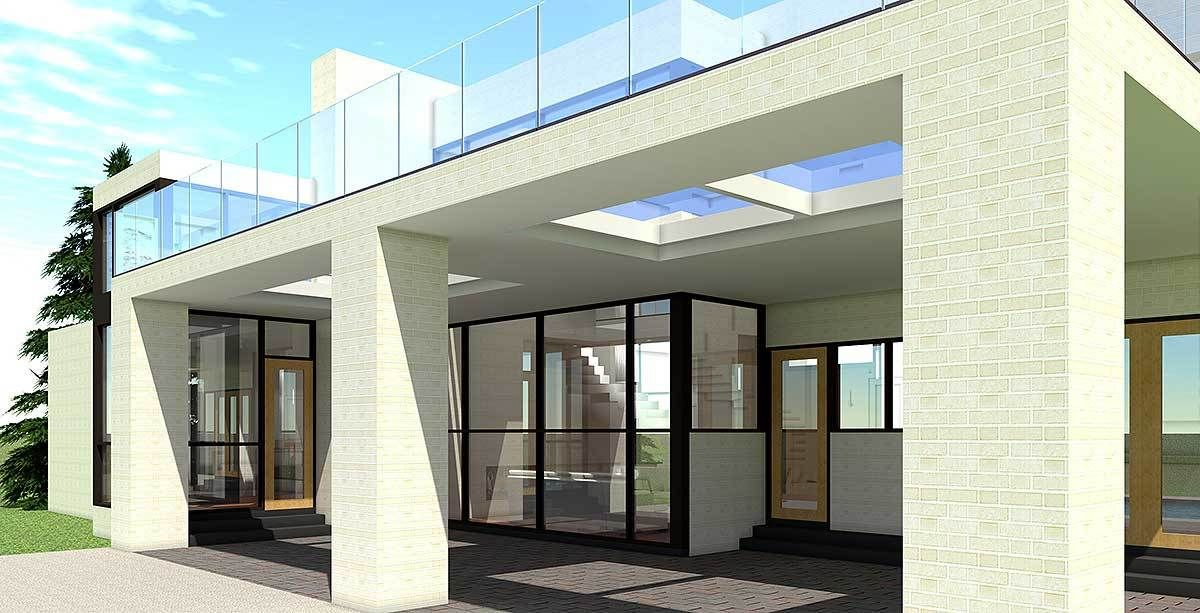 cul  cli  ethis bedroom modern house plan has  striking exterior and central story living space the entry walk steps across reflecting pond also td bed with rh pinterest