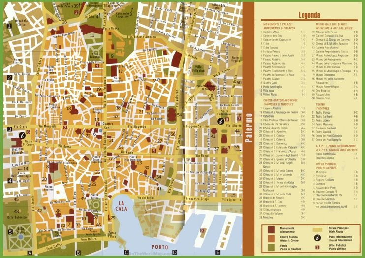 Tourist map of Palermo city centre italy Pinterest Tourist map