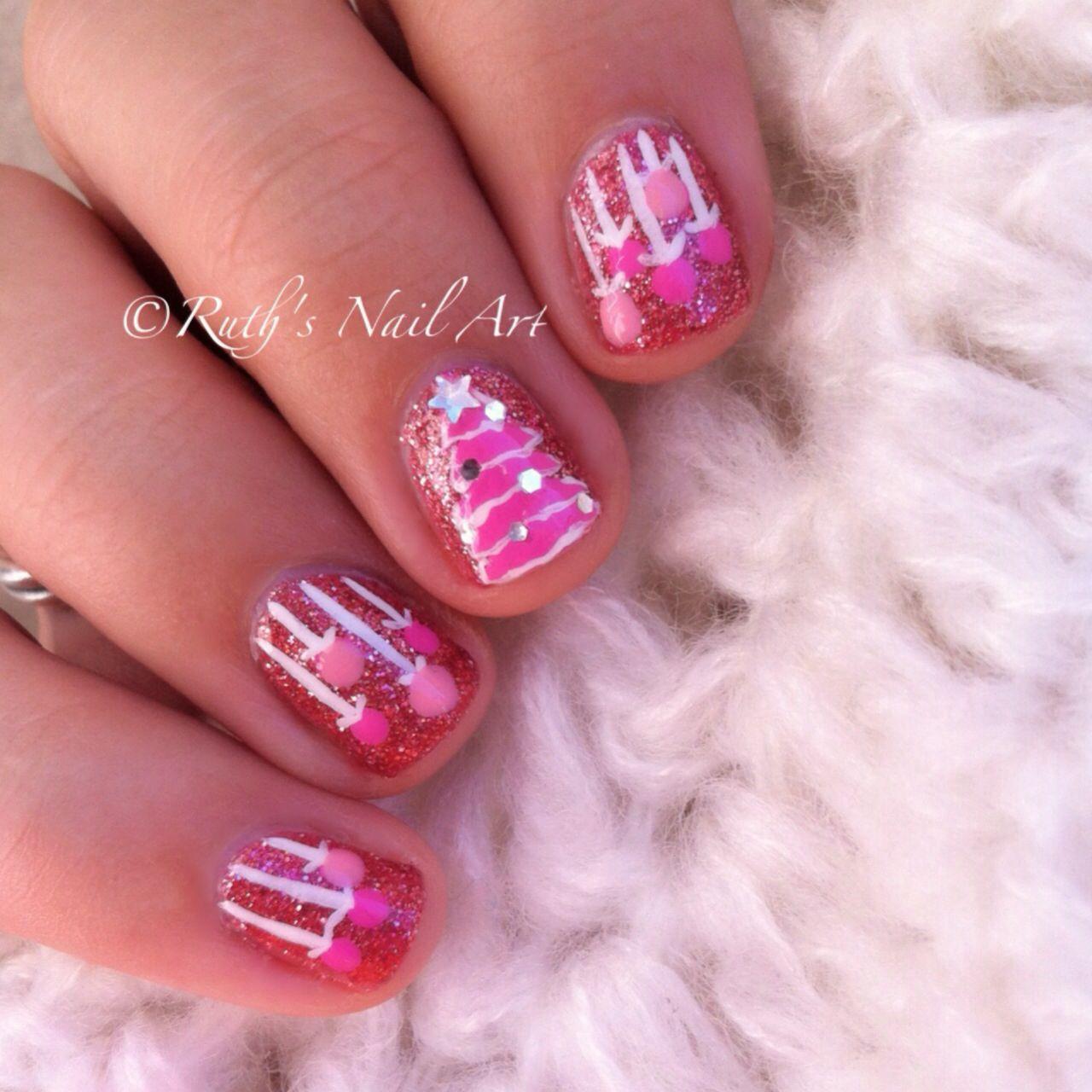 Pink Christmas #Nails #nailart #ruthsnailart   Holiday Nail Art ...