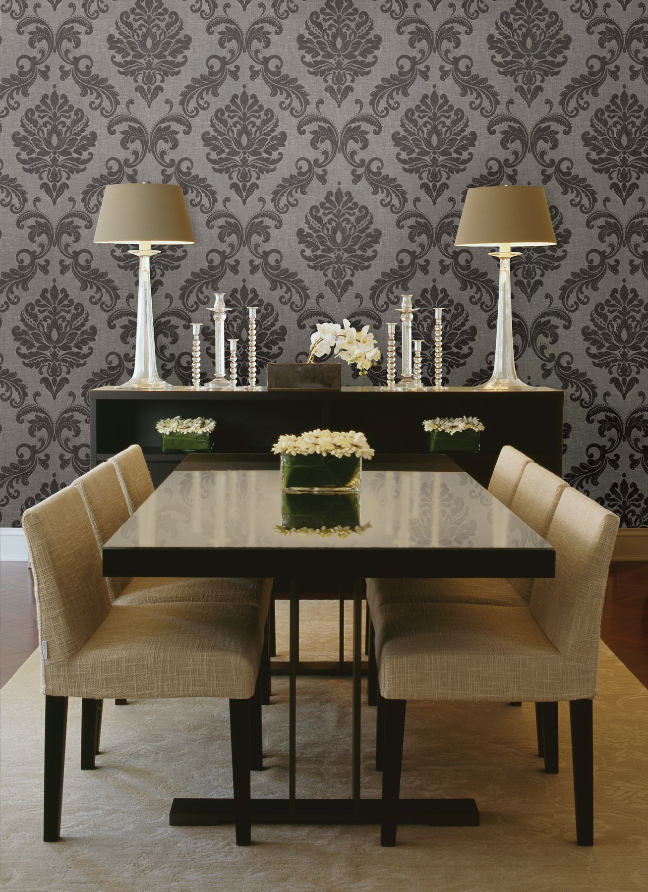 Gorgeous Formal Dining Room Decor Idea With A Damask Wallpaper Feature Wall