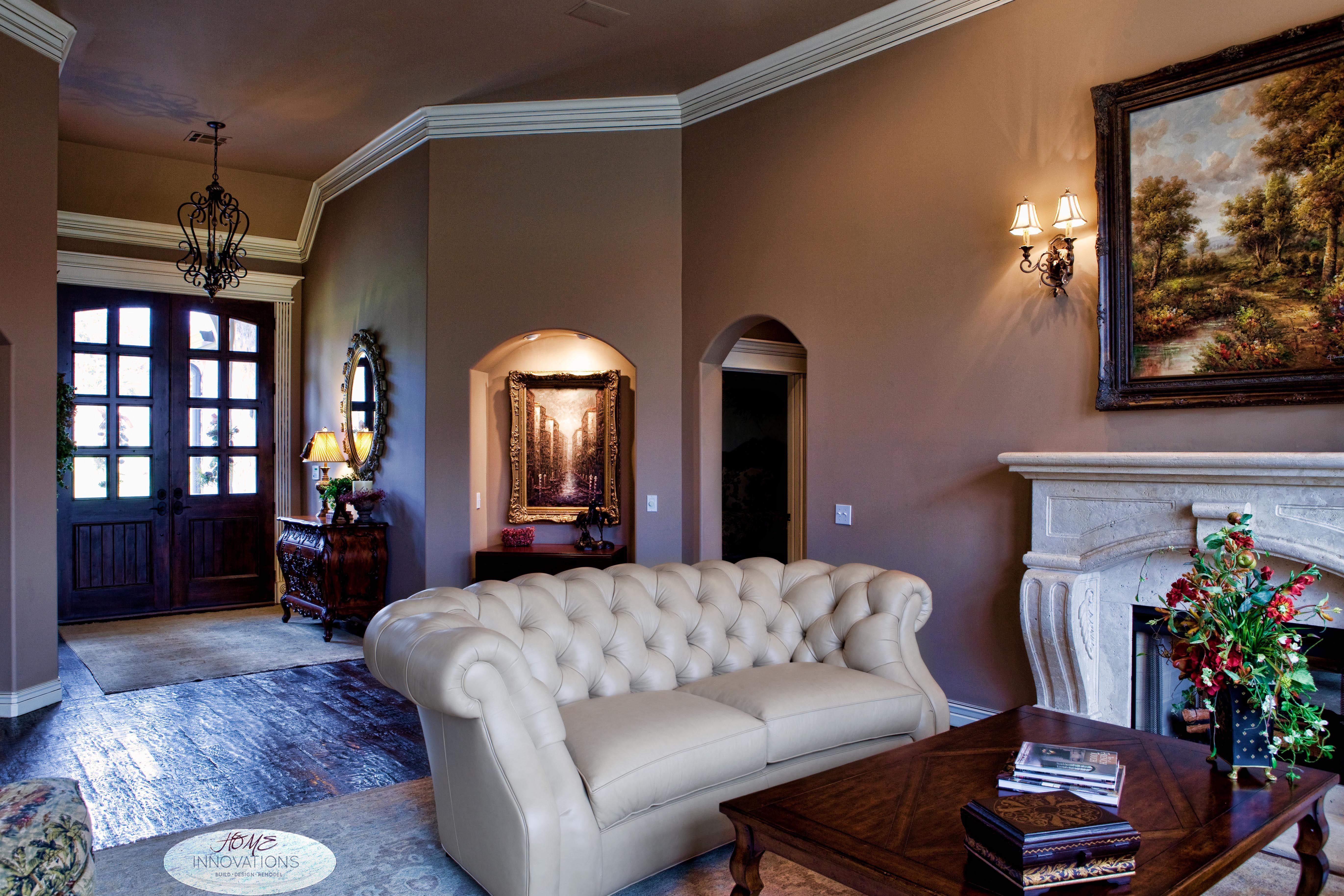 Formal Living Room. Sherwin Williams Dormer Brown, Distressed Wood Floors.  See B/ Part 81
