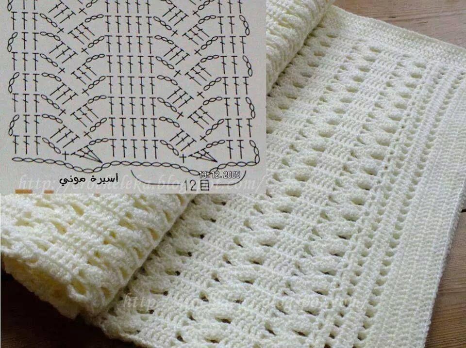 Ponto fantasia para mantas | Decken, Häkelmuster und Handarbeiten