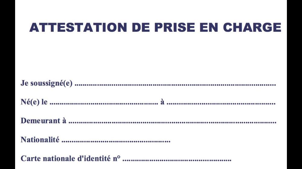 Attestation De Prise En Charge Visa France Pdf Recherche Google