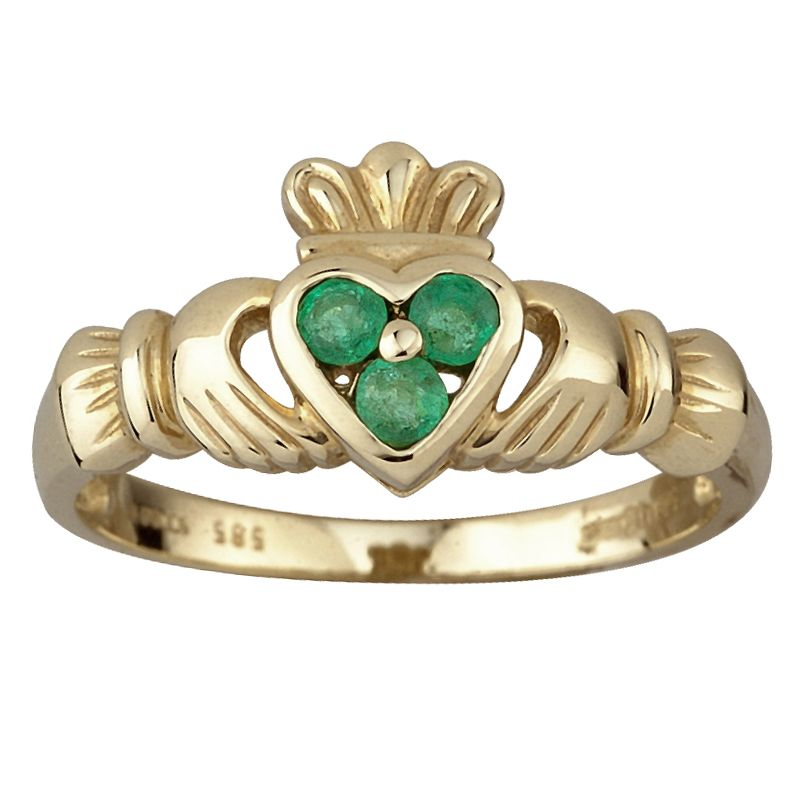 14K Gold 3 Emerald Heart Claddagh Ring sparkly