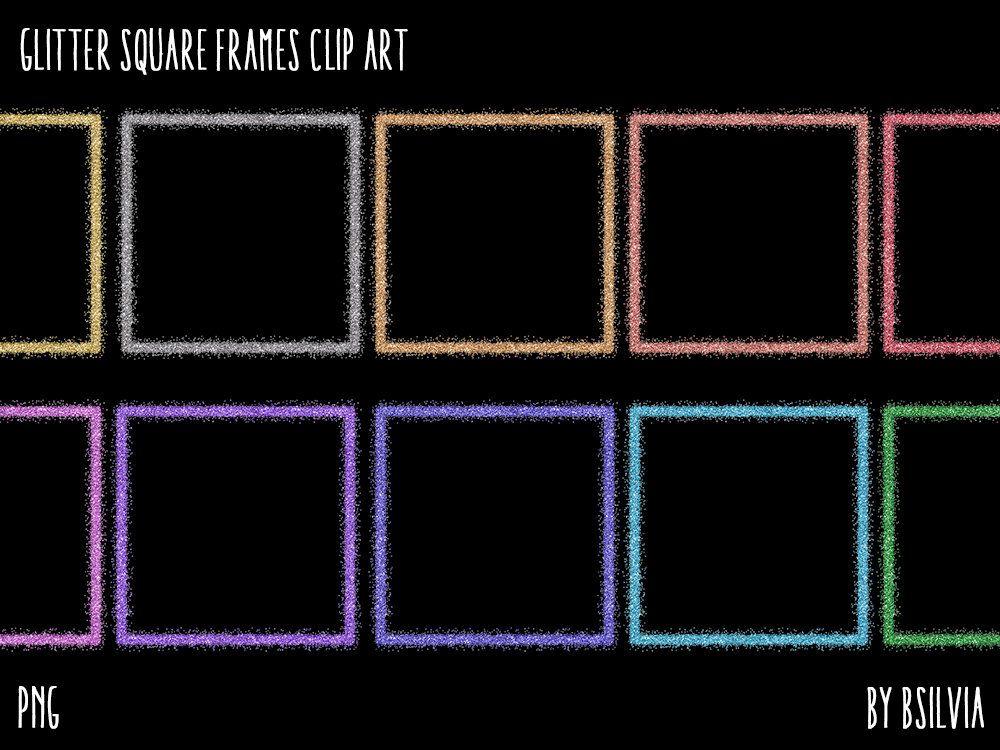 Glitter Square Frames Clipart Transparent Png Gold Glitter Etsy Frame Clipart Clip Art Square Frames