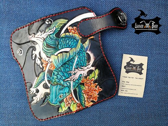 840142eefe6b Handtooled Leather Wallet Koi Wallet Carp Fish Pattern Biker Leather ...