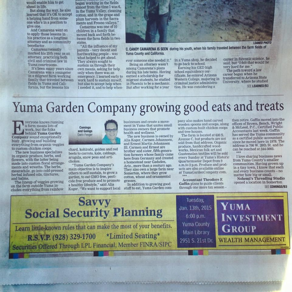 We Are In The Yuma Daily Sun Today Thank You All For The