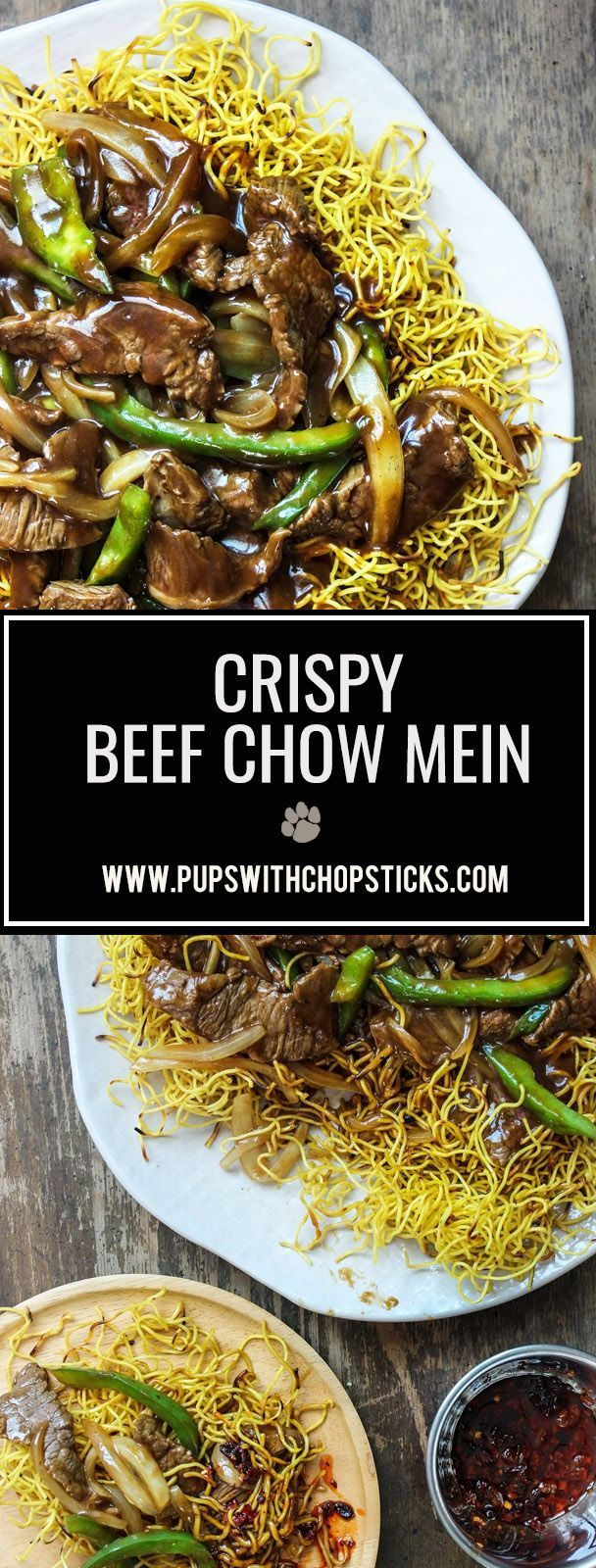 Cantonese beef chow mein is crispy, saucy and loaded with beef, peppers and onions on top. A very common takeout dish that's delicious and easy to re-create right in the comfort of your home!