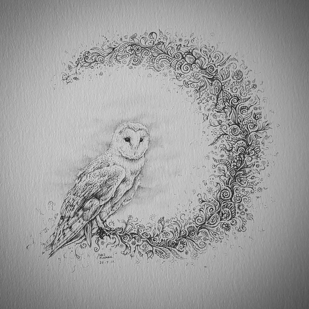 a little barn owl to go with the stag zendoodle