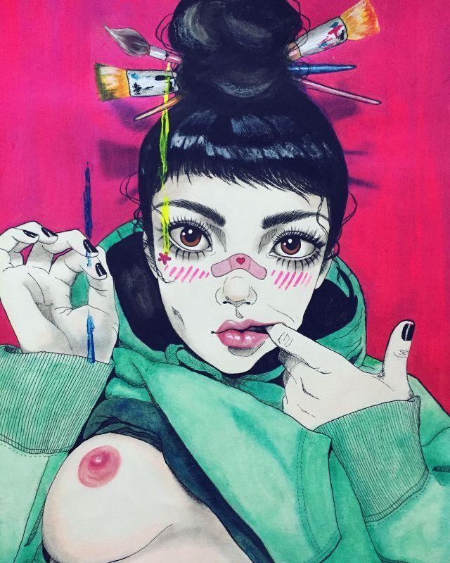 Harumi Hironaka, Illustrations. I'm into these... - SUPERSONIC ART