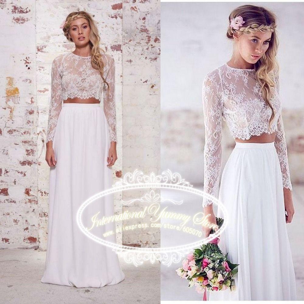 Vestido de noiva two piece boho beach wedding dresses wedding