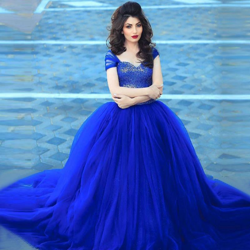 Royal Blue Ball Gown Wedding Dress 2016 Cap Sleeve Long Bridal
