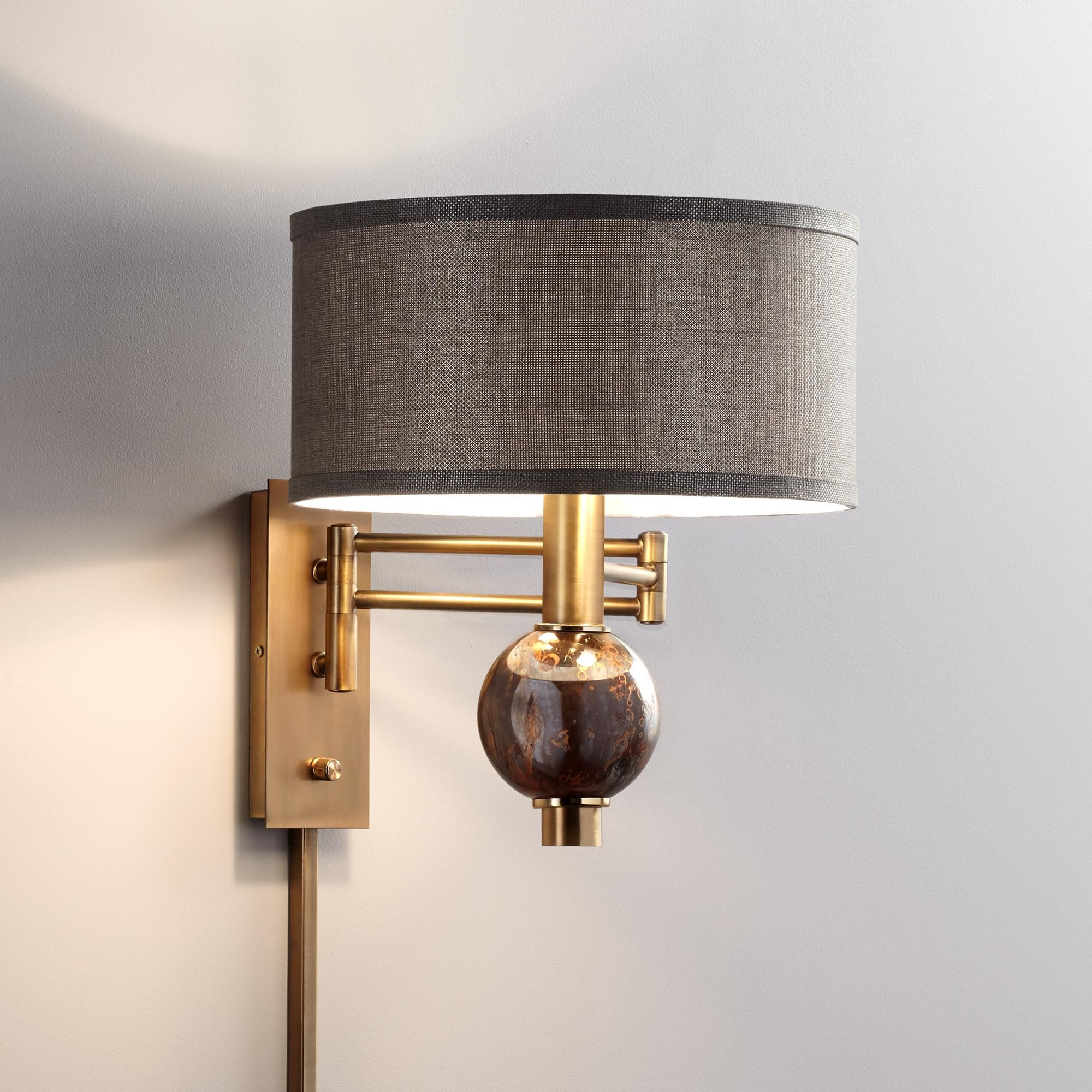 Richford Brass Plug In Swing Arm Wall Lamp With Dimmer 1r145