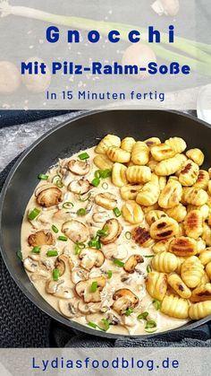 Bist du auf der Suche nach einem sehr einfachen und schnellem Rezept für den Feierabend? Dann ist dieses Gnocchi Gericht vielleicht genau das Richtige für dich. Du brauchst nur wenige Zutaten für eine Champignons Rahm Soße und ein paar frische Gnocchi aus dem Kühlregal. Turbo schnell ist das Essen fertig. #gnocchi #vegetarisch #pilze #pfanne #einfach #rezepte #schnell #dishesfordinner