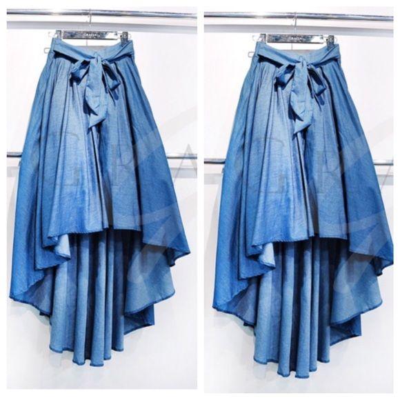 153de8ca21 High Low SkirtSOLD Light Weight Blue Denim High Low SkirtSOLD Gracia Skirts  High Low