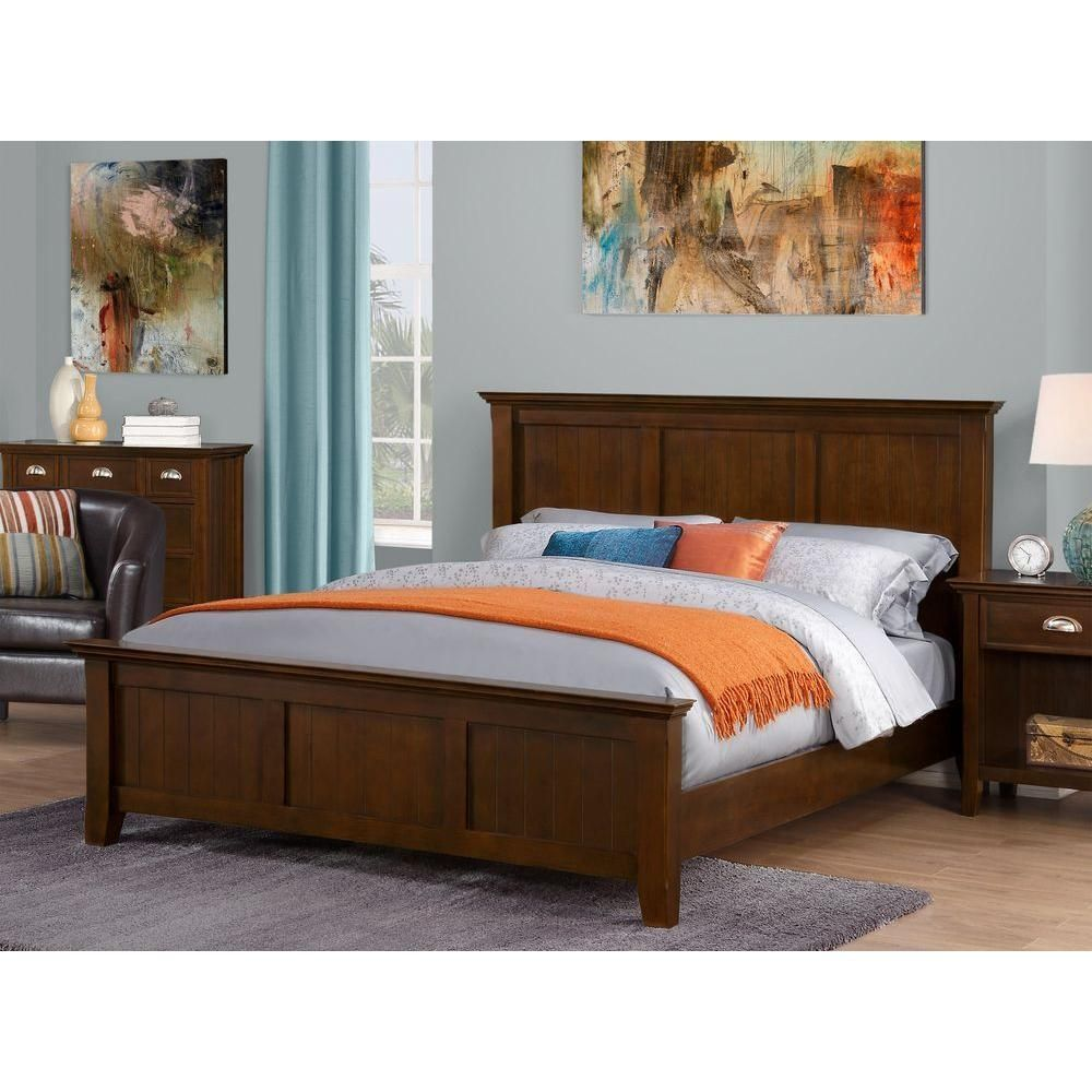 Acadian Dark Tobacco Brown Queen Bed Frame