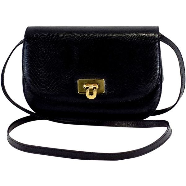 4d0287c447a4 Pre-owned Florenza Small Black Leather Crossbody Bag (£70) ❤ liked on Polyvore  featuring bags
