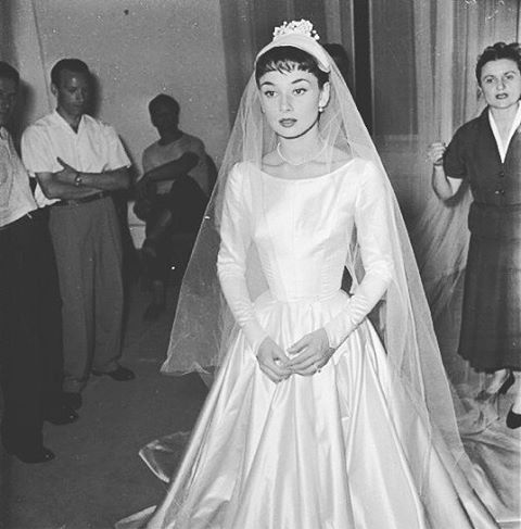 Audrey Hepburn wearing her wedding gown designed by Zoe Fontana for ...