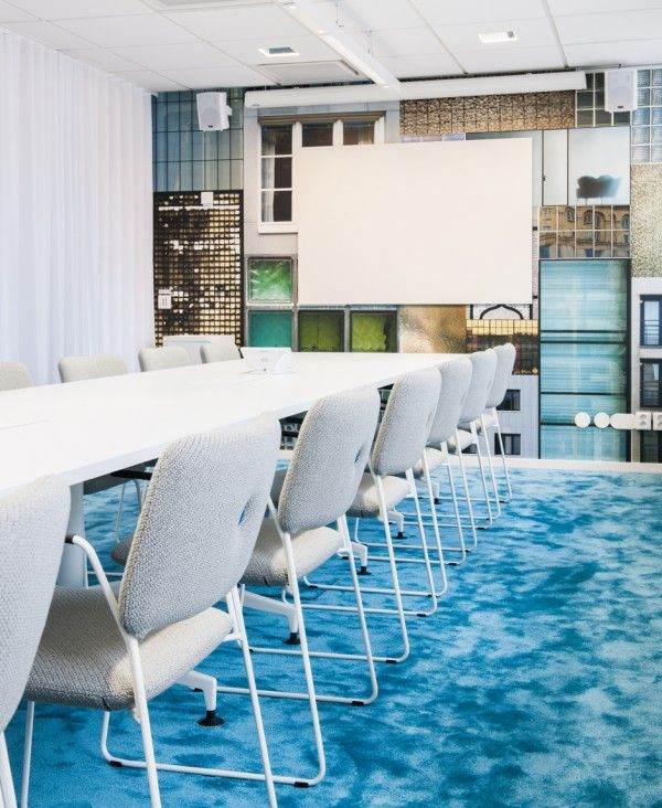 Home design white chair table whiteboard sound system curtain blue carpet art wall and lamp splendid office renovation with a colorful office furniture