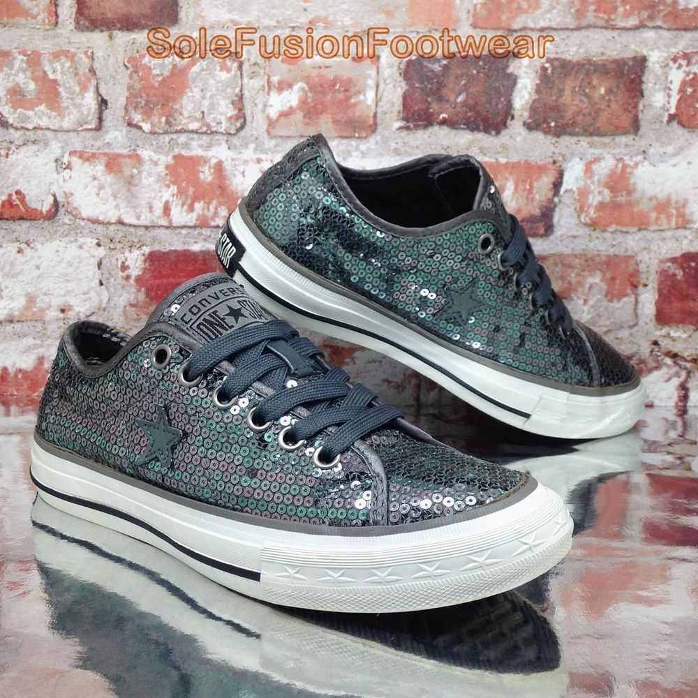 17fa6b3d3551 Converse Women s All Star Sequin Shoes size 3.5 Sparkle One Girls Trainers  EU 36