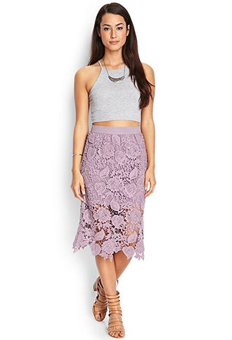 Crochet Lace Midi Skirt | LOVE21 - 2000064399 | closet ...