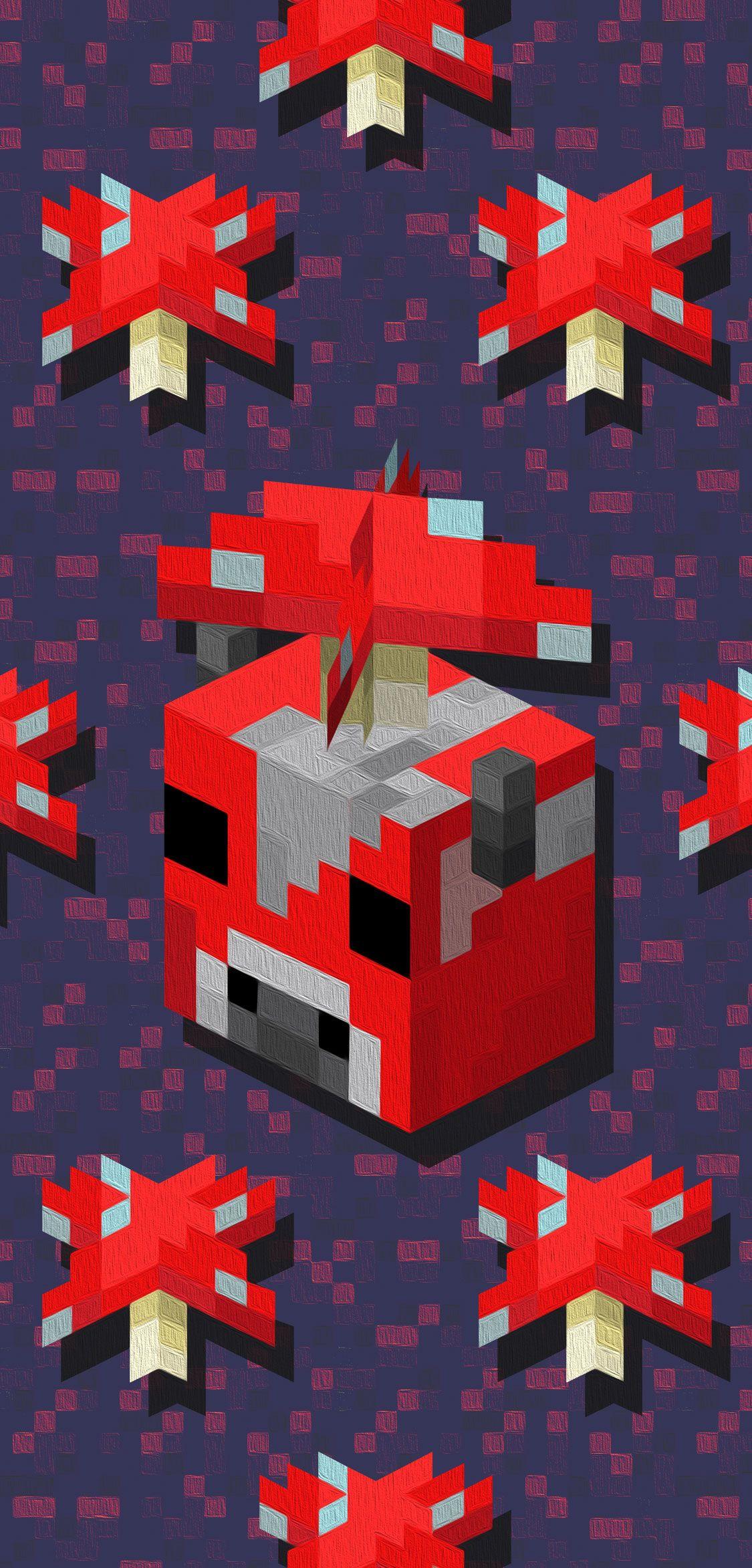 Minecraft Red Mushroom And Mooshroom Phone Wallpaper In 2020 Minecraft Wallpaper Wallpaper Phone Wallpaper