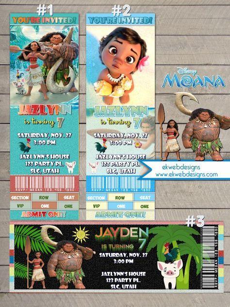 Disney Moana Ticket Style Birthday Invitations