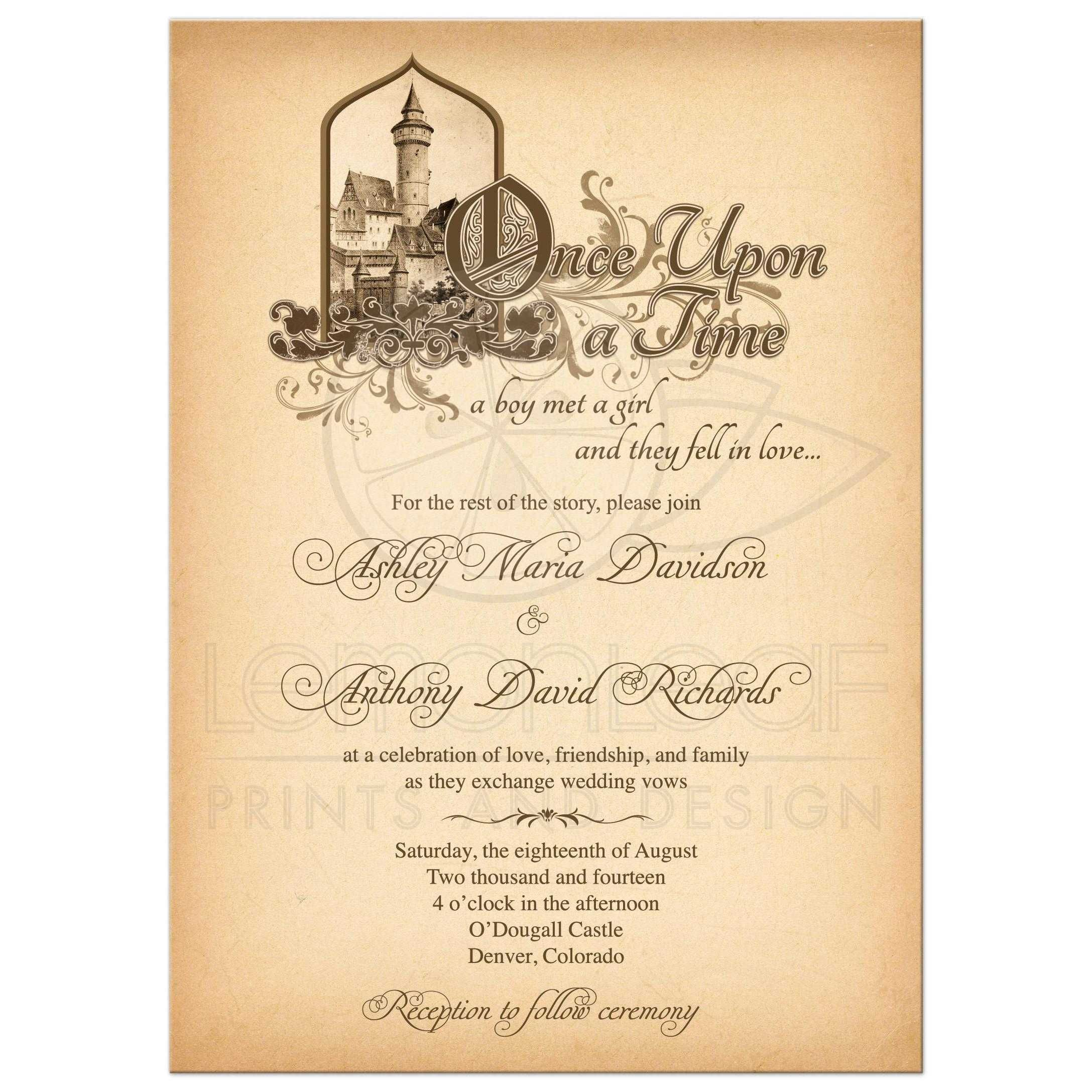 Fairy Tale Wedding Invitation Medieval Castle Once Upon A Time ...