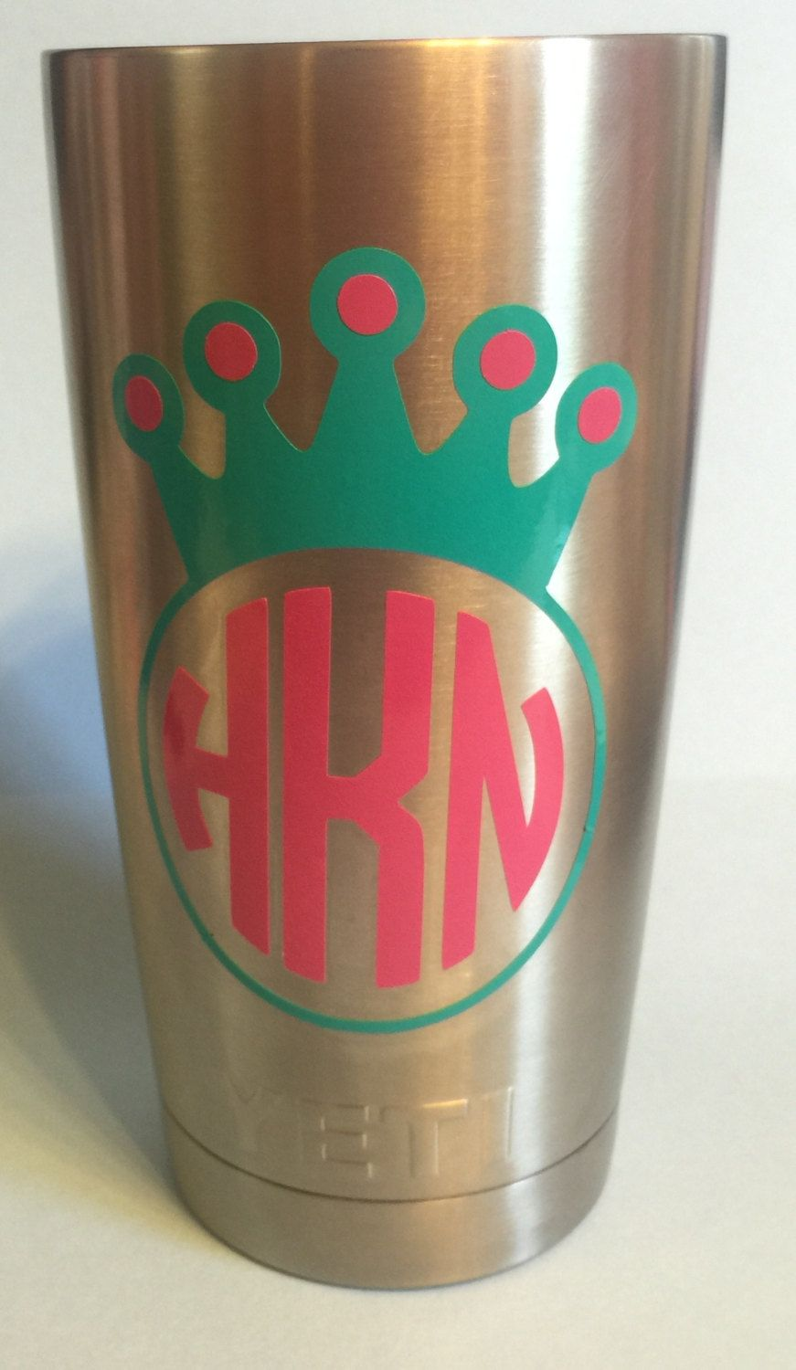 Circle Princess Crown Monogrammed Personalized Yeti Tumbler With - Vinyl letters for cups