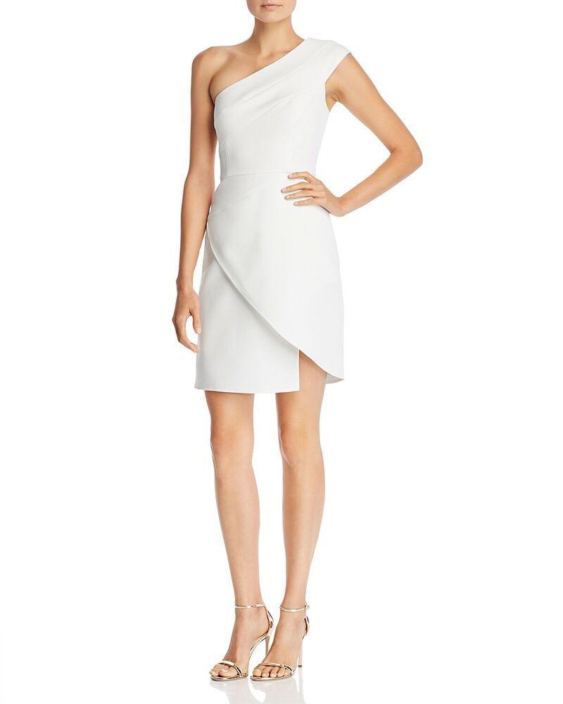 1f3935938d56 $398 BCBGMAXAZRIA WOMEN'S WHITE ONE-SHOULDER ASYMMETRICAL COCKTAIL DRESS  SIZE 0 #affilink