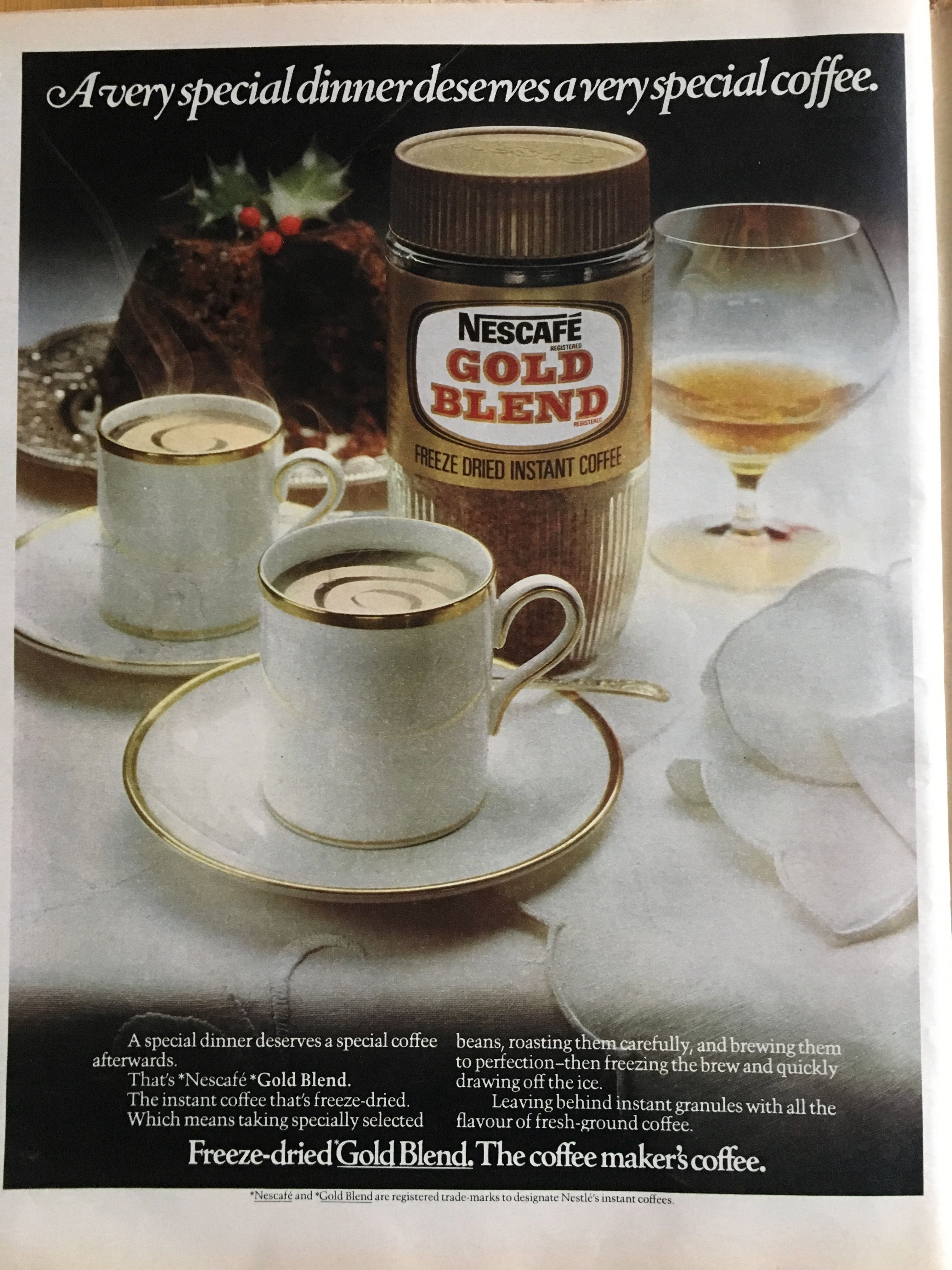 Gold Blend ad in 1976 edition (With images) Nescafe gold