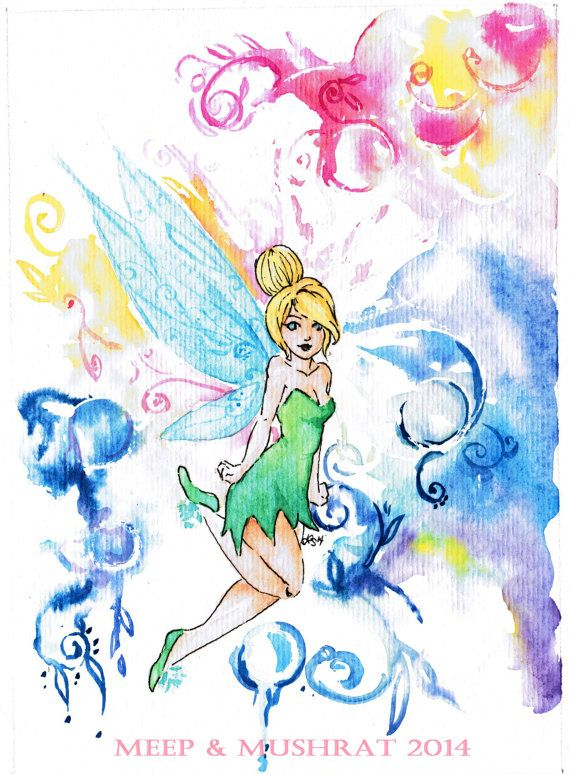 Tinkerbell Watercolor Print Available On My Etsy Watercolor