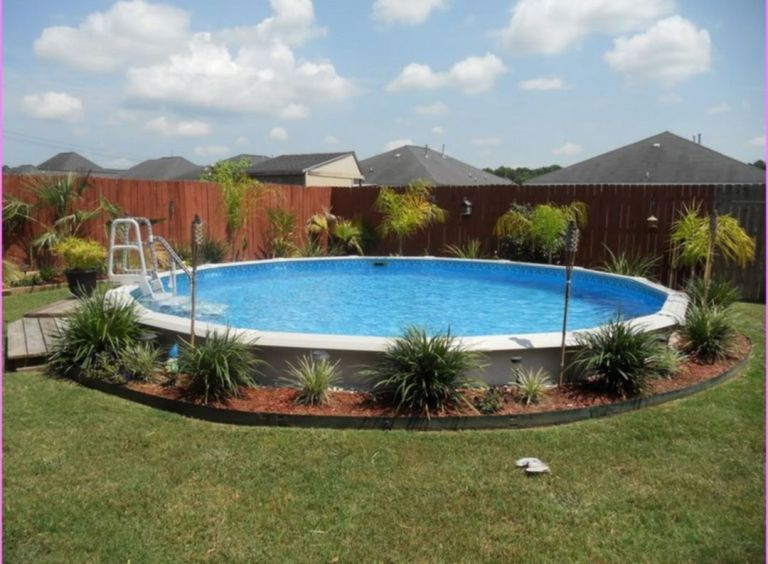Awesome above ground pool landscape ideas 10 rainy day for Above ground pool storage ideas