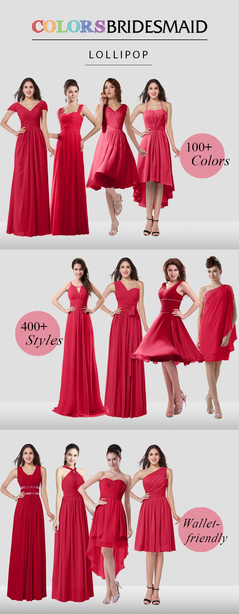Red bridesmaid dresses are all custom made to flatter your figure ...