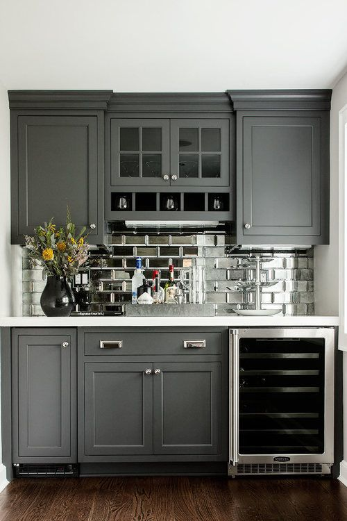 Beveled Antique Mirror Subway Tile In A Wet Bat With Charcoal Grey Painted Cabinets And Chrome