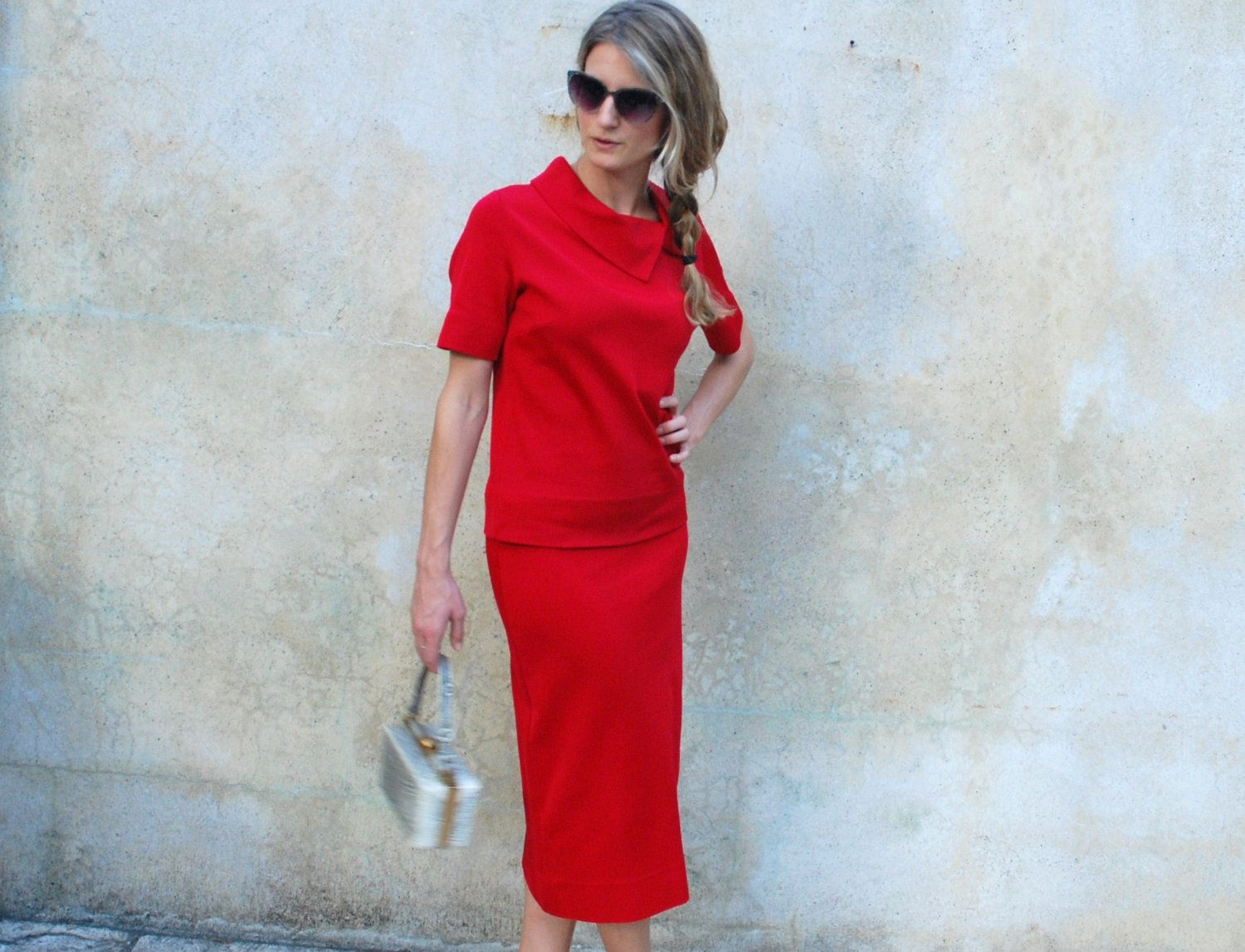1960s  retro red skirt and top - Mary Tyler Moore separates- small/medium. $175.00, via Etsy.