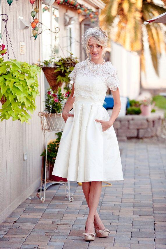 Christine - 2 piece Tea length Wedding Dress, Reception Dress, lace ...